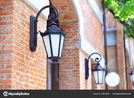 The Brick Lighting Vintage Light Lamp Brick Wall Stock Photo Kikujungboy