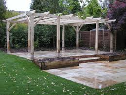 Exterior:Unfinished Garden Pergola Roof Design With Old Wood Material  Outstanding Wooden Pergola Design for