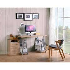 Home office home desk office Joanna Gaines Cross Hatch Birchgray Adjustable Height Writing Desk With Sturdy Metal Base Home Depot Adjustable Height Desks Home Office Furniture The Home Depot