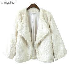 white fake fur coat short loose pattern winter mink coats women autumn warm white faux fur