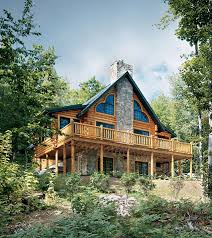 mountainside log home the right angle