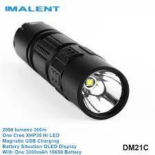 Imalent DM21C 18650 XHP35 Hi Cree LED yüksek güç fener manyetik USB şarj  edilebilir el feneri Shocker ile pil OLED ekran|LED Flashlights