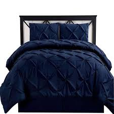california king navy oxford double needle luxury soft pinch pleated comforter set