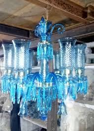 elegant sky blue colour glass lamp mughal style antique chandelier