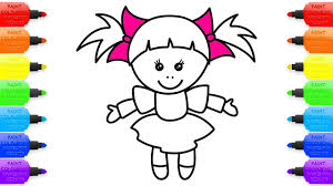 Small Picture Toy Baby Doll in dress with bows Coloring Pages and drawing for