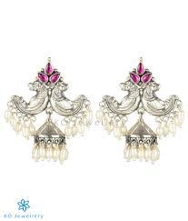 Makara Kundala Earrings Designs The Makara Silver Jhumka Red Oxidised