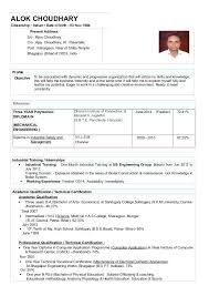 Format Of Resume For Mechanical Engineers Freshers Mechanical