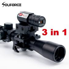 Bsa Red Dot Laser Light Combo 4x20 Rifle Optics Scope Tactical Crossbow Riflescope With Red Dot Laser Sight And 11mm Rail Mounts For 22 Caliber Guns Hunting A