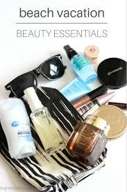 beach vacation beauty essentials what s in my travel makeup bag beach edit