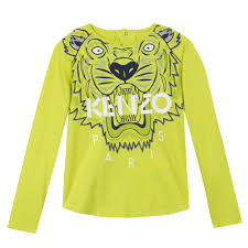 Lime Green Designer T Shirt Kenzo Kids Kenzo L S T Shirt Lime Green