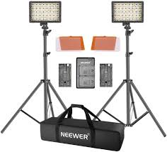 Cn 160 Led Video Light Battery Neewer 2 Packs Cn 160 Led Video Light And Stand Lighting Kit Dimmable Led Video Light Filters Light Stand Battery Usb Dual Battery Charger And
