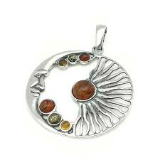 pendant in sterling silver and natural