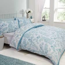 king size duvet cover set bird cage baby blue white fl reversible bedding