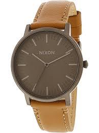 nixon nixon men s porter leather a10582494 matte grey japanese quartz dress watch com
