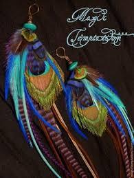Разноцветные длинные <b>серьги</b> с <b>пером павлина</b> – заказать на ...