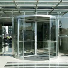 entry door revolving glass metal manual rotating