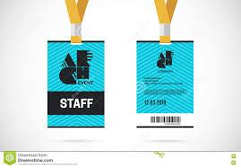 Lanyard Badge Design Staff Id Card Set Vector Design Illustration Stock Vector