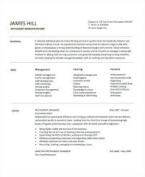 Restaurant General Manager Resume Unique Resume Restaurant