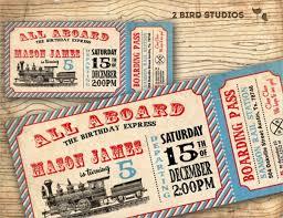 Printable Vintage Train Invitation Ticket Template Party Ideas