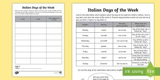 There are several spelling alphabets in use in international radiotelephony. Italian Days Of The Week Worksheet Language Resource Twinkl