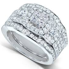 Diamond Me Princess Diamond Wedding Rings Set 1 1 3 Carat Ct Tw