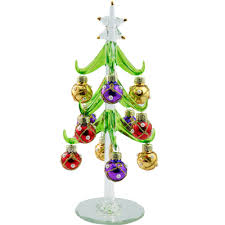 ls arts 6 inch green glass tree with pearled ball ornaments 52 xm683