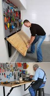 Folding Wall-Mounted Workbench by Bench Solution saves valuable ...