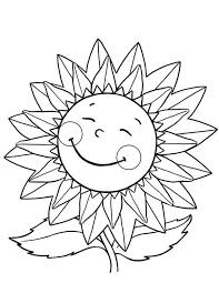 Small Picture Happy Sunflower Coloring Page Download Print Online Coloring