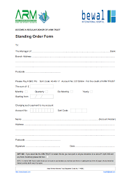Standing Order Form Bewal International Hospital
