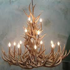 tall spruce mule deer antler chandelier