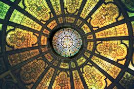 healy and millet stained glass dome and tiffany stained glass dome and mother of pearl mosaic chicago cultural center built 1897