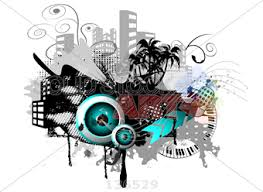 speakers art. stock illustration of urban art work with buildings music piano and speakers c