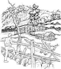 Free Coloring Page Coloring Adult Snowy Cabins Crayons And