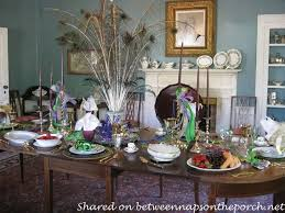 a mardi gras brunch table setting tablescape