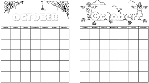 Small Picture Printable Calendars for October