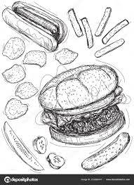 Fast Food Hamburger Hot Dog Patatine Fritte Patatine Fritte