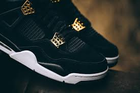 jordan 4 royalty. this air jordan 4 features a full black nubuck upper that\u0027s highlighted with metallic gold finishes throughout. royalty )