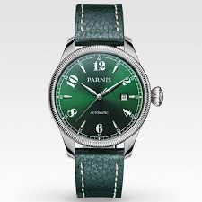 aliexpress com buy elegant watch men 42mm parnis sapphire green aliexpress com buy elegant watch men 42mm parnis sapphire green dial automatic movement men s wrist watches genuine leather green strap from