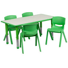school rectangle table. FF 24 X 48 Resin Table With 4 - Chairs 10.5\ School Rectangle M