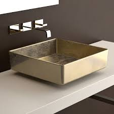 bathroom sink. WS Bath Collections Four Lux Vessel Bathroom Sink In Gold Leaf 3D 15.7\