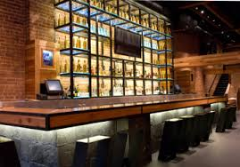 restaurant bar lighting. sloane uses waterproof led light bars with clear and colored glass bar shelves restaurant lighting