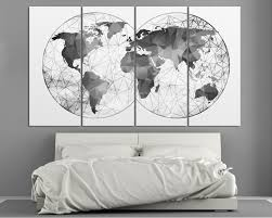 4 panel black and white abstract world map canvas set on wall art black white with double hemisphere black white abstract world map at texelprintart