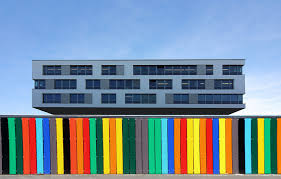 office building facade. Fence Architecture Window Building Color Facade Colorful Modern Office Tower Block Paling