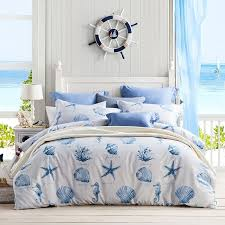 kids navy blue and white seashell starfish and c reef print ocean themed marine life full queen size bedding sets