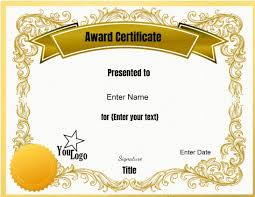Free Blank Award Certificate Templates For Word Printable
