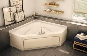 Bathroom. white corner bathtub and brown wooden bench on ceramics flooring  plus brown wooden shelf