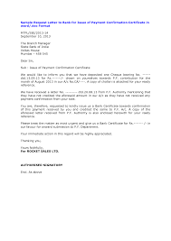 Request Letter For Bank Payment Confirmation Professional