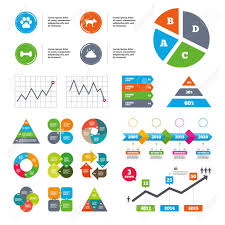 Data Pie Chart And Graphs Pets Icons Dog Paw And Feces Signs