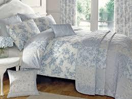 blue quilt duvet cover bedding set vintage traditional reversible toile uk new