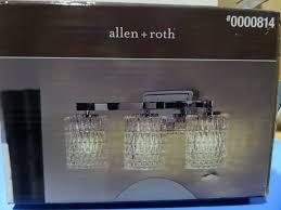 New Allen Roth 3 Light Chrome Vanity Light Bar 0000814
